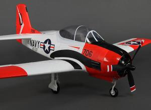 Durafly T-28 1100mm with flaps, retracts, lights, gear doors, red and white, PNP